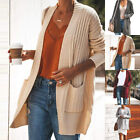 Women's Knitted Cardigan Casual Open Front Sweater Patchwork Outwear Coat 03