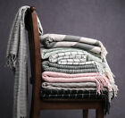 Throw Blanket Warm Knit Textured Solid for Winter Bed Sofa Couch Fringe 50 x 60 image