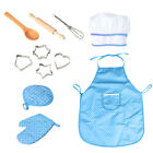 11 Pcs Kids Kitchen Cooking Play Set Apron Boys Girls Chef Hat Role Play Games
