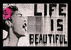Banksy - Life is Beautiful Poster in a Black Wood Frame (24x36) 24618-PSA010013