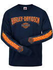 Harley-Davidson Mens Skull Stripe Willie G Navy Blue Long Sleeve Biker T-Shirt image