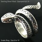 Snake Ring Real 925 Sterling Silver Filled Solid Oxidized Design Size 7-10