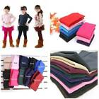 Girls Kids Fleece Leggings Winter Warm Thick Thermal Skinny Plain Trousers Pants