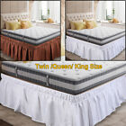 """Bed Skirt Polyester Wrap Around Dust Ruffle 15"""" Drop Elastic Twin Queen King  image"""
