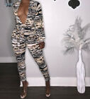 Sexy Wpmen Low Cut Long Sleeve Camouflage Print Jumpsuits Bodycon Backless Party
