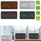 USB/AAA Wood Digital LED Alarm Clock Thermometer Timer Humidity Voice Controlled