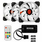 3/6x RGB LED Quiet Computer Case PC Cooling Fan 120mm with 1 Remote
