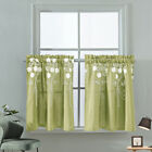 Embroidered Floral Window Half Short Curtain Kitchen Cafe Bedroom Bathroom Decor