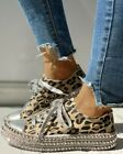 Women Casual Leopard Rivet Embellished Lace Up Canvas Shoes Mid Heel Sneakers US