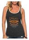 Harley-Davidson Women's Distressed Flames B&S Sleeveless Tank Top, Heather Black