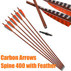 30in Archery Carbon Arrows Spine 400 Wooden Skin Shaft Handmade Natural Feather