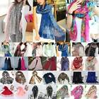 Women Scarf Floral Sunscreen Long Voile Soft Shawl Scarf Ladies Wrap Stole Retro