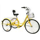 """26"""" 7-Speed 3-Wheel Tricycle Trike Bicycle City Bike Adult Cruise Double Basket"""