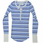 Aeropostale Shirt Womens Long Sleeve Striped Henley Junior Women New Button xs