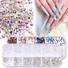 AB Color Rhinestones Round Nail Art Decoration 3D Nail Charms Gems Tips Decor