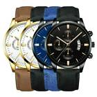 Business Sport Men's Stainless Steel Case Leather Band Quartz Analog Wrist Watch image