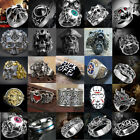Men Women Stainless Steel Alloy Gothic Skull Rings Boy Biker Finger Jewelry Lot