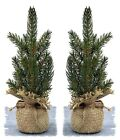 Artificial Pine Tree in Burlap Bag Set/2 or Set/3 Christmas Holiday Home Decor