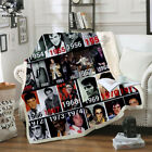 3D Print Sherpa Blanket Sofa Couch Quilt Cover Throw Fleece Elvis Presley