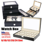 6/10/12/20/24 Slot Watch Display Leather Case Box Top Glass Organizer Men Gifts image