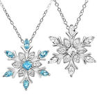 925 Silver Crystal Frozen Christmas Snowflake Necklace Pendant & Chain Jewelry