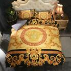 Retro Bedding Sets 4PCS Queen Size Versace Blanket Velvet Quilt Cover Soft