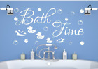 Bath Time Bubbles Duck Wall Stickers Art Bathroom Decor Word Quote Uk Zx137