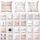 """18"""" Rose Gold Pillow Case Bedroom Geometric Cushion Cover Bed Sofa Home Decor US image"""