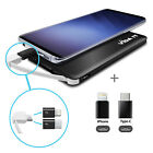 Slim Portable Battery Pack Charger and USB C iPhone Lightning Adapters For Phone