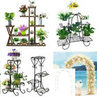Metal/Wooden Flower Pot Plant Planter Stand Rack Shelf Home Outdoor Decoration