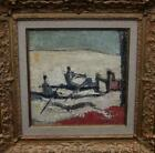 Charming FRENCH CUBIST Abstract 1950's Modernist Oil Painting THE ROWERS