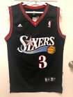 Allen Iverson #3 Vintage Throwback Philadelphia 76ers Men's Sewn BLACK Jersey