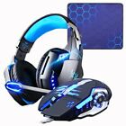 Gaming G9000 Headset Headphones + Wired Mouse Mice 4000DPI Bass Stereo Gamer Set