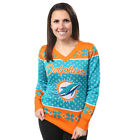 Miami Dolphins Big Logo Women's V-Neck Ugly Sweater by Forever Collectibles $69.99 USD on eBay