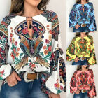 Women Boho Floral V-Neck Long T Blouse Oversize Sleeve S-3XL Tops Shirt Lantern