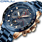 CRRJU Mens Chronograph Sport Watch 45mm Blue Dial Full Steel Date Quartz Watches