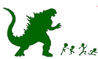 Godzilla ate your stick family funny vinyl decal car bumper sticker 027