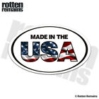 Made in the USA Oval Decal Sticker American Flag United States Vinyl EMV