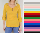 Women's Basic Casual Soft Cotton Stretch Crochet 3/4 Sleeve T-Shirt Top Solid