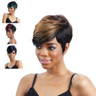 Real Remy Pixie Hair Full Wig Natural Short Cut Wavy Ombre Black for Women Party