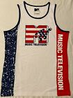 MTV Music Television VIDEO Beach USA Flag MEN'S New SLEEVELESS Tank Top T-SHIRT image