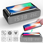 Alarm Clock LED Wireless Phone Charger Desktop Digital Thermometer Clock 2020