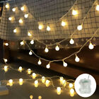 Solar/Battery LED Globe Bulb Ball Fairy String Lights Garden Outdoor Waterproof