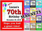 70TH BIRTHDAY PARTY FAVORS MAGNETS - SET OF 15 MAGNETS