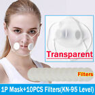 Transparent Clear Face Masks +10pc Fliter Anti-droplets Respirator Mouth Cover