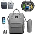 LEQUEEN Baby Diaper Bag Pack Mummy Maternity Nappy USB Port Traveling Backpack