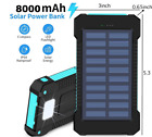 Solar Charger real 8000 mAh Battery with LED 2 USB Output Ports Waterproof