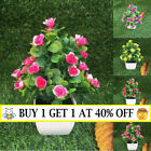 Realistic Artificial Potted Flowers Plants In Pot Outdoor Home Garden Decor