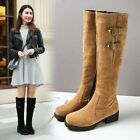 Womens Fashion Winter Faux Suede Buckle Strap Knee Boots Block Heel Knight Boots