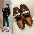 Womens Fashion Vintage Round Toe Pearls Slip On Loafers Collegiate Oxford Shoes